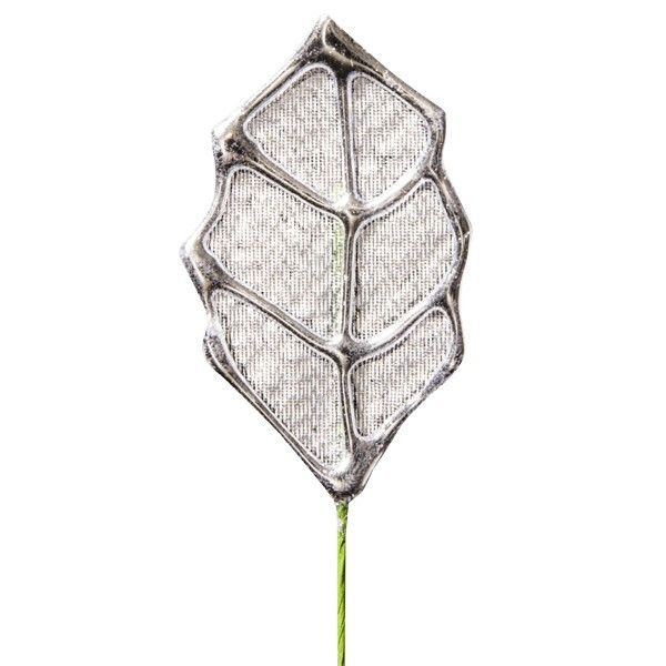 Deko-Blatt mit Drahtstiel, 4er Set, silber