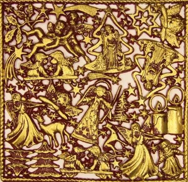 Wachsornament-Platte Weihnachten, 16 x 16 cm, bordeaux angegoldet