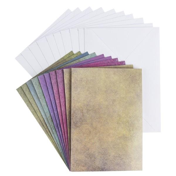 Motiv-Grußkarten, Steinoptik, B6, 5 verschiedene Farbtöne, inkl. Umschläge, 10 Stück