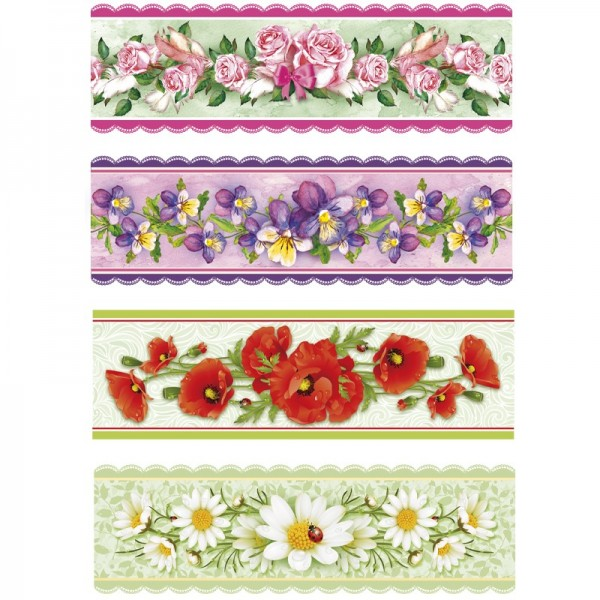 "Ei-Zauberfolien ""Blüten-Ranken"", Schrumpffolien, 4 Designs, 12er Set"
