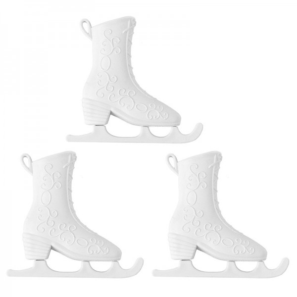 Winter-Deko, Rohling, Schlittschuh 1, 7cm x 8cm, weiß, 3 Stück