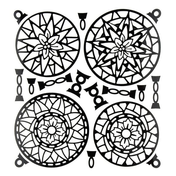 Kugel-Sticker, Weihnachten, Design 3, 23cm x 20cm, schwarz
