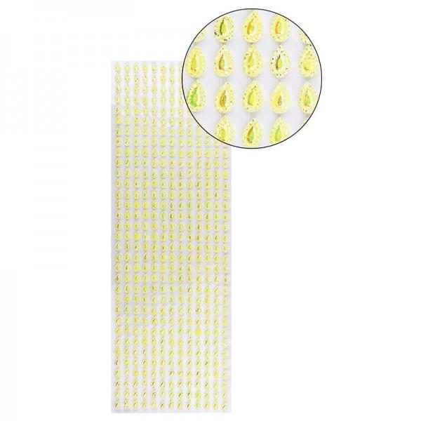 Schmuckstein-Bordüren, selbstklebend, facettiert, irisierend, Tropfen 5mm x 8 mm, 29cm, gelb