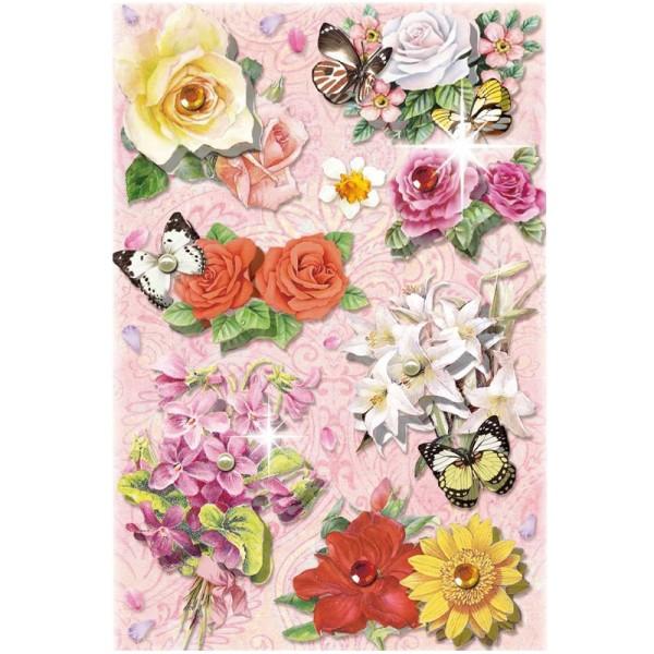 3-D Stickerbogen, Blumen auf Rosa 4, 12,7 x 18,8 cm