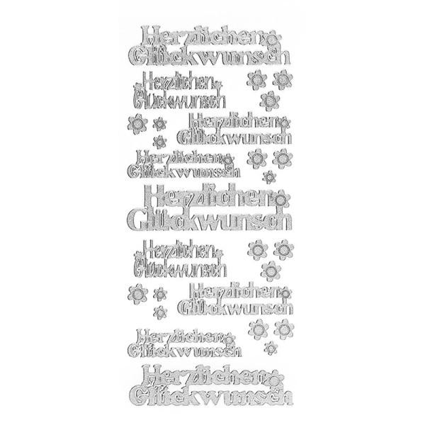 Sticker, Herzlichen Glückwunsch, Diamantfolie, silber