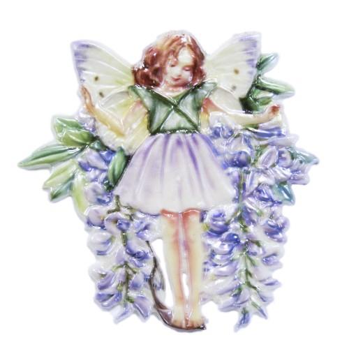 Wachsornament Elfe 3, farbig, geprägt, 7 x 7 cm