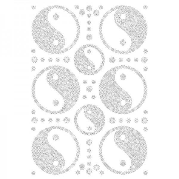 Bügelstrass-Desing, DIN A4, klar, Yin & Yang