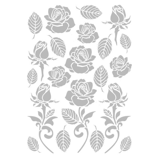 Metallic-Bügeltransfers, Rosen & Blätter, DIN A4, silber glänzend