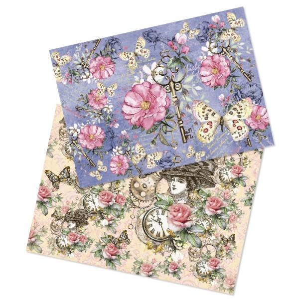 """Reispapiere, Nostalgie """"Blüten 1"""", DIN A4, 2 Designs"""