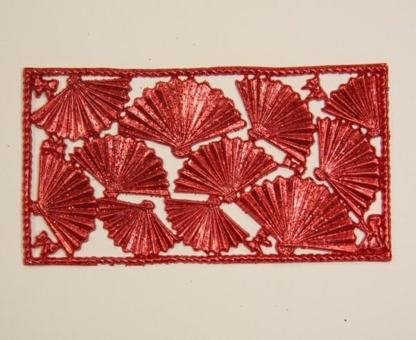 Wachsornament-Platte Fächer, 16 x 8 cm, rot-metallic