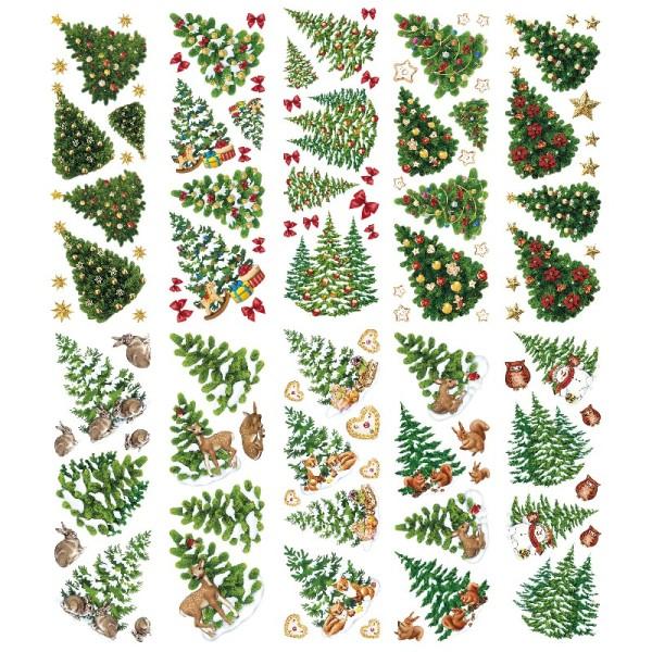 Transparent-Sticker, Tannenbäume, 10cm x 30cm, 10 Bogen