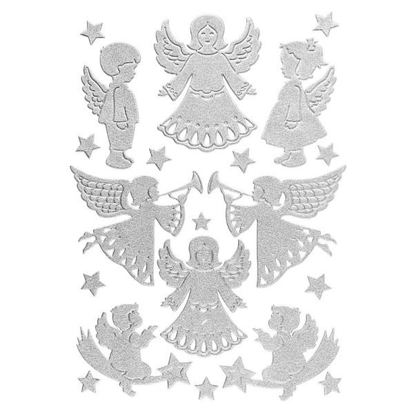 3-D Sticker, Deluxe Engel, verschiedene Größen, selbstklebend, silber