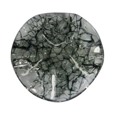 Mehrfach gewölbte Perle, Krakelieroptik, Ø3 cm, rauchquarz, 4 Stück