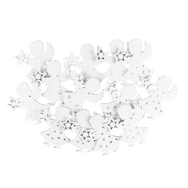 Engel mit Sternen, Holz, 8,2cm x 7,9cm x 0,5cm, weiß, 13 Stück