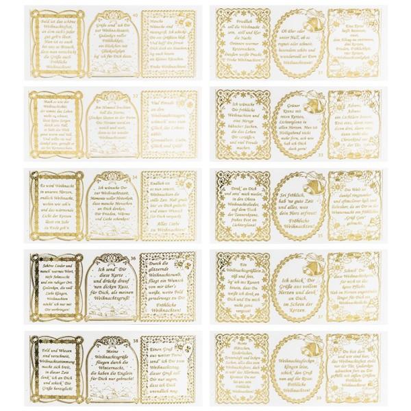Gravur-Stickerbogen, 30 Weihnachts-Wünsche, Transparent/Gold