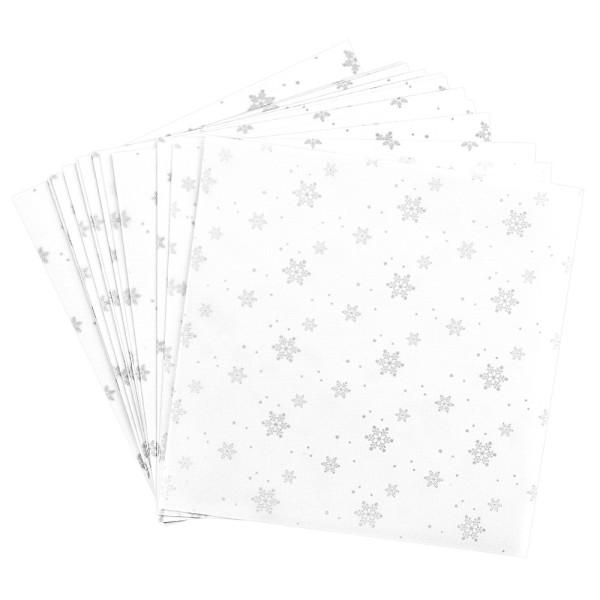 Faltpapiere, transparent, Eiskristalle, 20cm x 20cm, 110 g/m², weiß/silber, 100 Stück