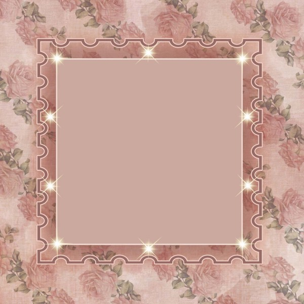 Lichteffekt-Grußkarte Rosenpassepartout II, 16 x 16 cm