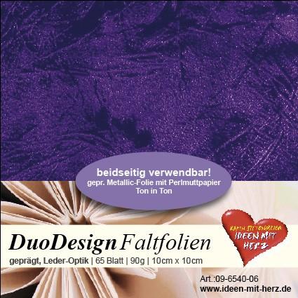 DuoDesign Faltfolien, Leder-Optik, 10cm x 10cm, 65 Blatt, violett