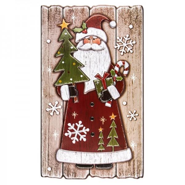 XL Relief-Sticker in Holz-Optik, Weihnachtsmann auf Holzpaneelen, 41cm x 24cm
