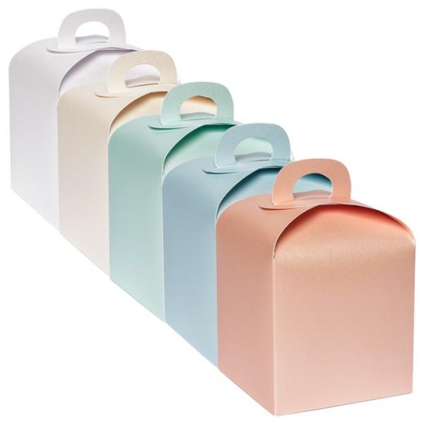 Faltboxen, geklebt, 10 cm x 10 cm x 10 cm, 5 Perlmuttfarben, 10 Stück