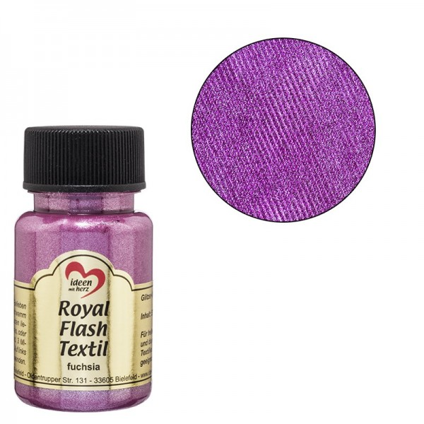 Royal Flash Textil, Glitzer-Metallic-Farbe, 50 ml, fuchsia