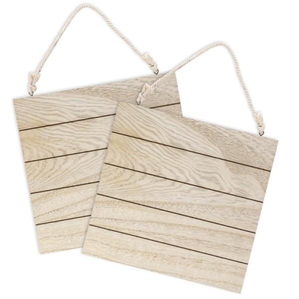 Holzplatten, Nostalgie 2, 24cm x 24cm x 0,6cm, mit Aufhängung, 2 Stück