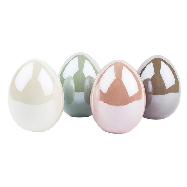 Deko-Eier, Perlmutt, 8cm hoch, Ø 6cm, creme, taupe, mint, rosé, 4 Stück