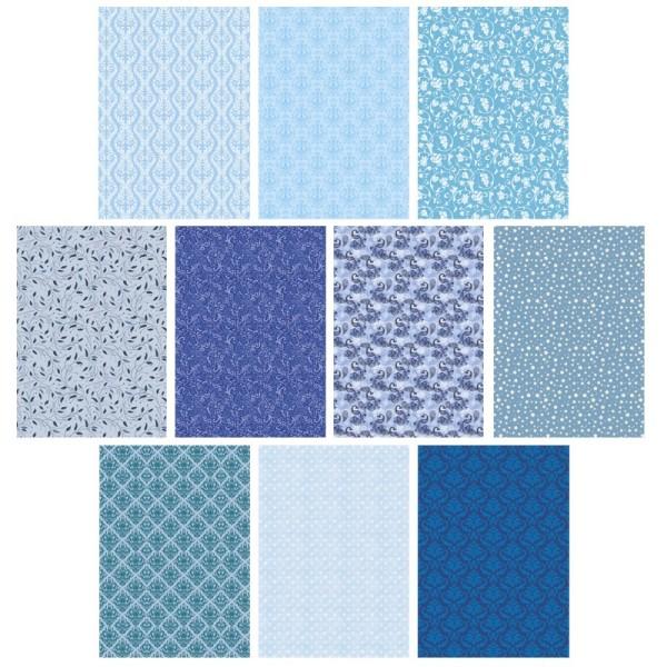 Deko-Karton Set, blau, DIN A4, 10er Set