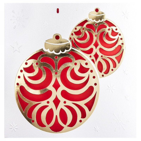 """Deluxe-Grußkarten """"Weihnachtskugeln"""", 16cm x 16cm, 10 Stück, inkl. Einleger & Umschläge"""