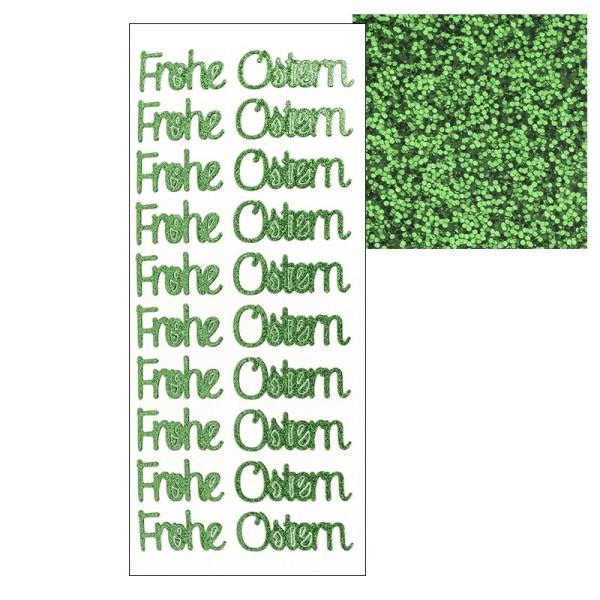 Microglitter-Sticker, Frohe Ostern 1, grün