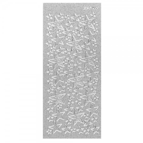 Microglitter-Sticker, Sterne 2, silber
