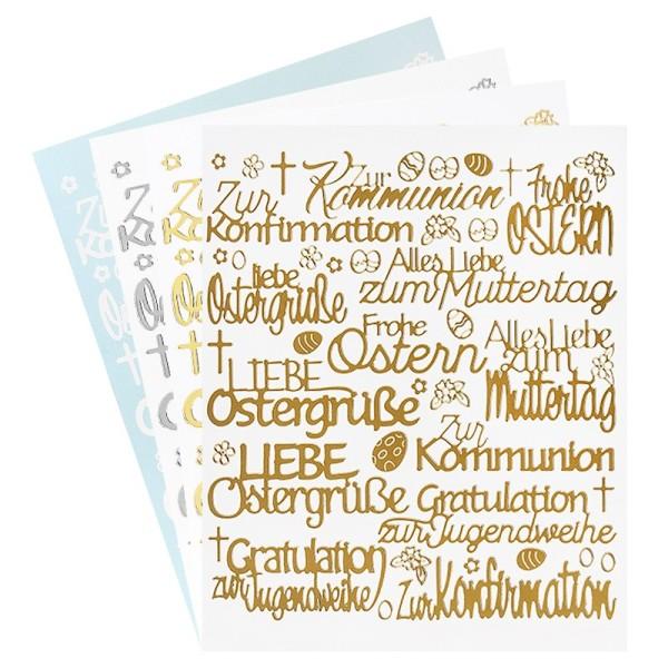 """Stickerbogen """"Handlettering Art"""", Anlässe, gold, silber, weiß, 20cm x 23cm, 4 Bogen"""