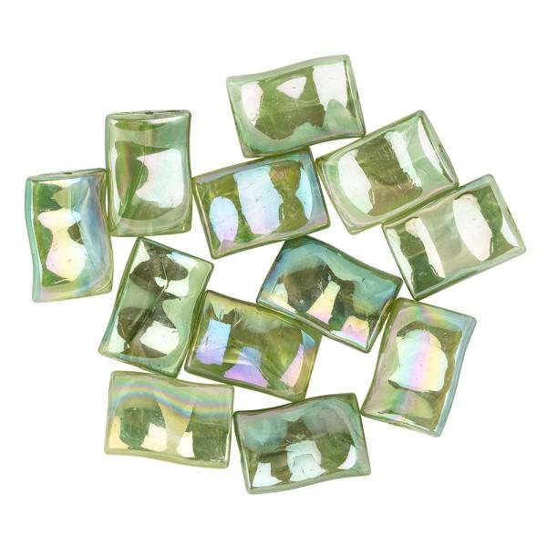 Perlen, Wellen-Form, irisierend, 2,6cm x 1,8cm, Aventurin-Optik, olivgrün, 12 Stück
