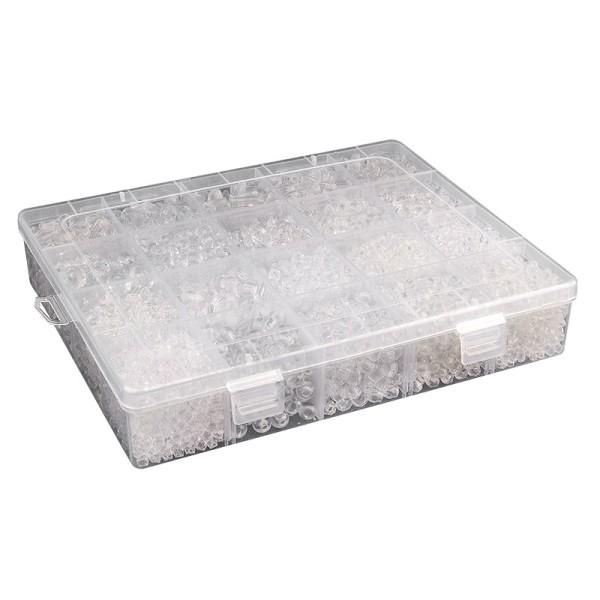 Perlen-Vielfalt in Kunststoff-Box, verschiedene Perlenarten, 500g, klar