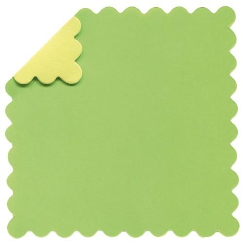 DuoColor Stanz-Faltpapiere, 8 x 8 cm, grün, Wellenrand, 100 Blatt