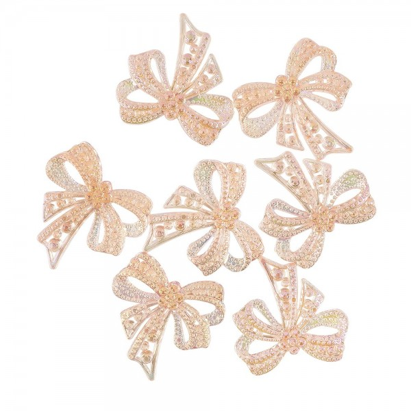 Kristallkunst-Schmucksteine, Schleife, 4,5cm x 4,5cm, transparent, irisierend, apricot, 7 Stück