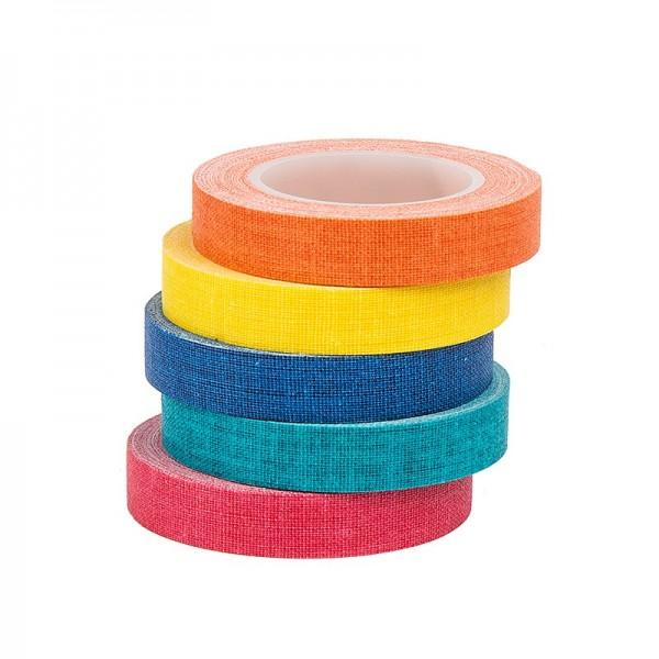Deko-Stoff-Klebeband, Farbsortierung 1, 10mm x 5m, 5 Rollen