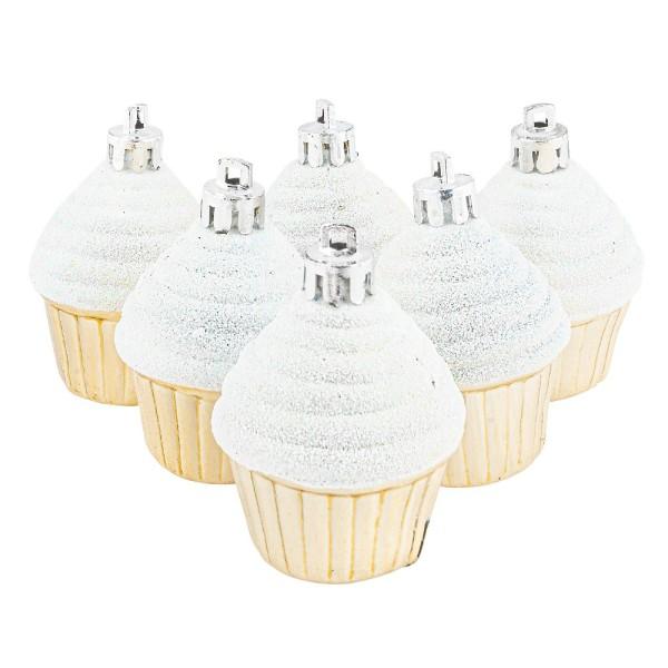 Baumschmuck, Cupcakes, Ø 4cm, 5,6cm hoch, glänzend hellgold, weißer Glitzer, 6 Stück