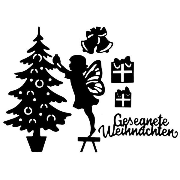 Stanzschablonen, Weihnachtsbaum & Weihnachtselfe, 5 Stück