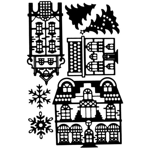 Stanzschablonen, Häuser, Tannen & Schneeflocken, 7 Stück