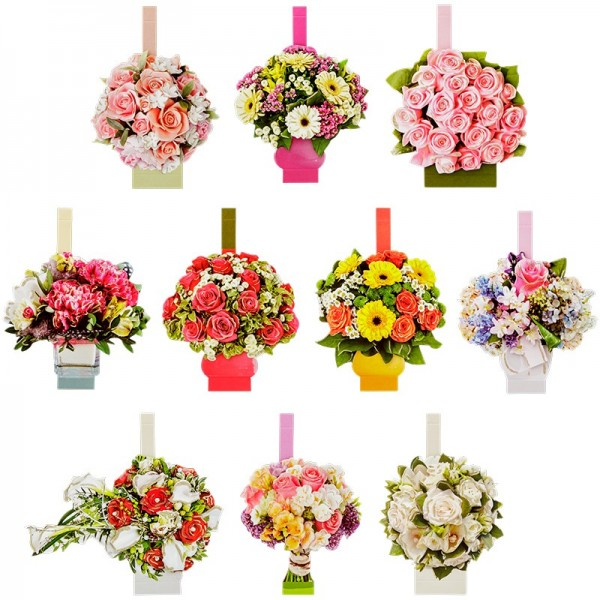 Pop-Up 3-D Motive, Blumensträuße, Gold-Gravur, 8-13,5cm, 10 Motive