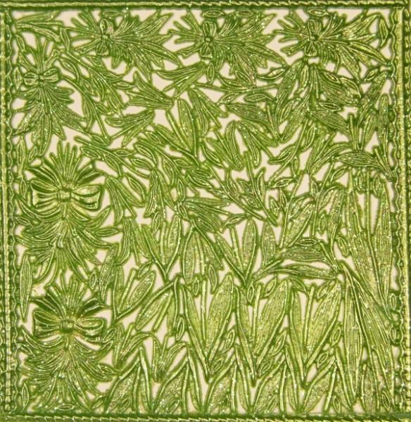 Wachsornament-Platte Blumenstengel, 16 x 16 cm, grün