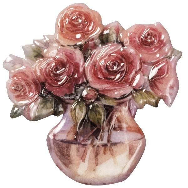 Wachsornament Blumenvasen 3, farbig, geprägt, 6,5cm