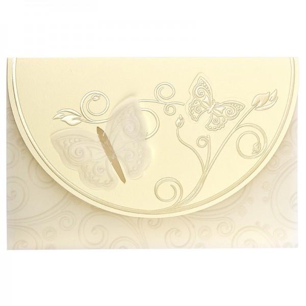 Exquisit-Grußkarten mit Top-Prägung, 17,9 x 11,9 cm, 10 Stück, creme mit Transparentpapier