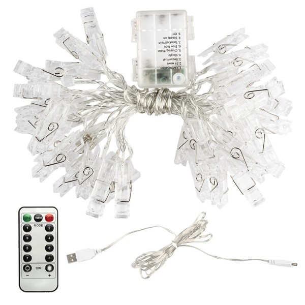 LED-Lichterkette, Foto Clips, 40 transparente Foto-Clips mit 40 LED-Lämpchen in Warmweiß