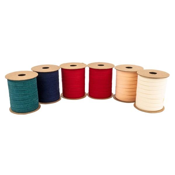 Geschenkbänder Samt, 5mm breit, verschiedene Farben, 10m, 6 Stück