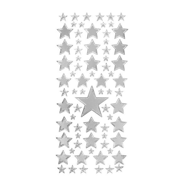 Sticker, Sterne 2, verschiedene Größen, silber