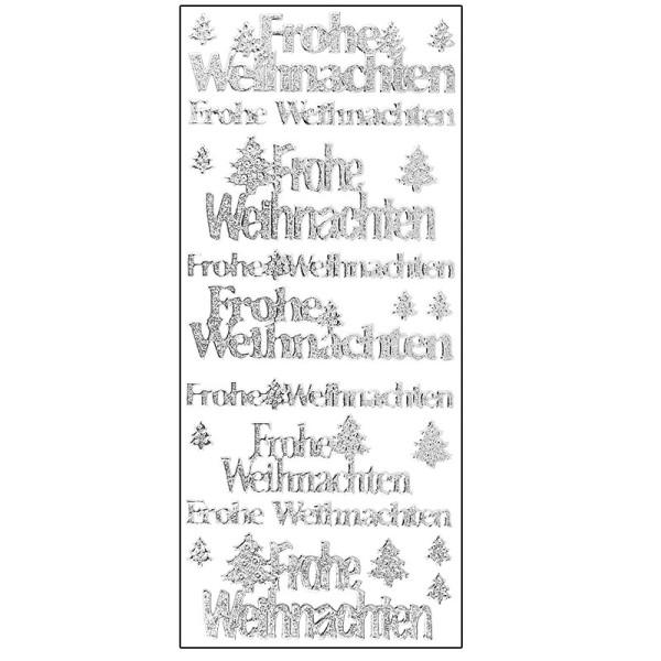 Microglitter-Sticker, Frohe Weihnachten/Tannenbaum, silber
