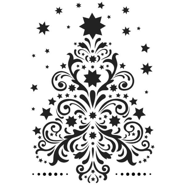 Fenster-Kunststoff-Schablone, DIN A4, Weihnachtsbaum