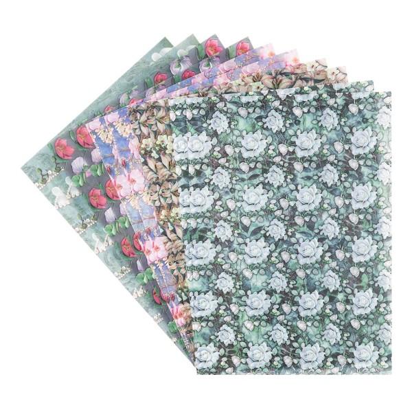 Motiv-Transparentpapiere Deluxe, Blumen 2, DIN A4, 150g/m², verschiedene Designs, geprägt, 10 Bogen